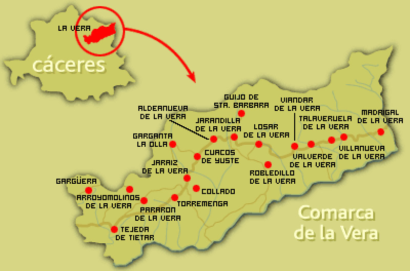 Mapa de la Comarca de La Vera | Provincia de Cáceres | Extremadura