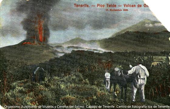 Erupción del volcán Chinyero | Imagen antigua | La prensa ante el Chinyero | Postal antigua
