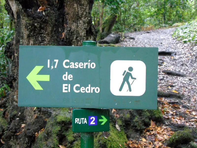 Parque Nacional de Garajonay | Senderismo | La Gomera | Indicador Caserío de El Cedro