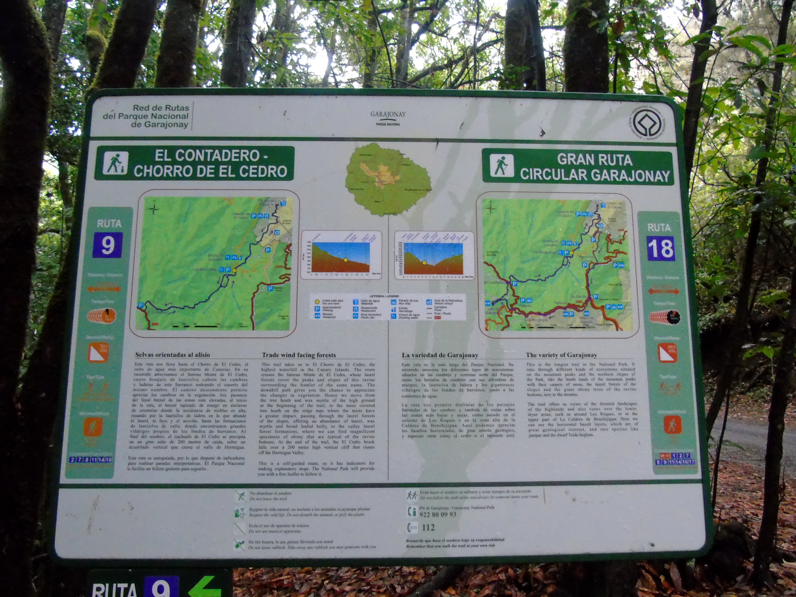 Parque Nacional de Garajonay | Senderismo | La Gomera | Panel explicativo ruta 9 y 18