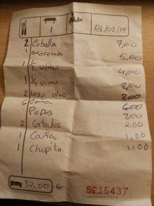 Restaurante El Chicharro | Piedra Hincada | Guía de Isora | Tenerife | Cuenta