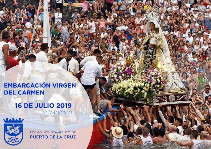 Embarcación de la Virgen del Carmen 2019 en Puerto de la Cruz